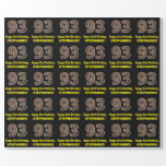 "[ Thumbnail: 93rd Birthday: Name & Faux Wood Grain Pattern ""93"" Wrapping Paper ]"