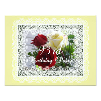 93rd Birthday Party Celebration-Red/Yellow Roses Card
