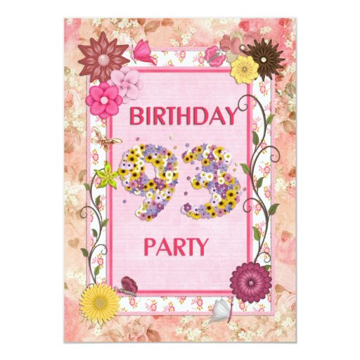 93rd birthday party invitation with floral frame