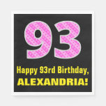 "[ Thumbnail: 93rd Birthday: Pink Stripes and Hearts ""93"" + Name Napkins ]"