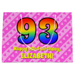 [ Thumbnail: 93rd Birthday: Pink Stripes & Hearts, Rainbow # 93 Gift Bag ]