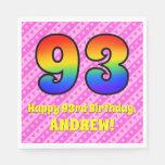 [ Thumbnail: 93rd Birthday: Pink Stripes & Hearts, Rainbow # 93 Napkins ]