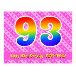 [ Thumbnail: 93rd Birthday: Pink Stripes & Hearts, Rainbow 93 Postcard ]