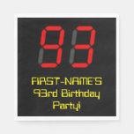 "[ Thumbnail: 93rd Birthday: Red Digital Clock Style ""93"" + Name Napkins ]"