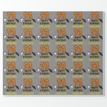 [ Thumbnail: 93rd Birthday: Spooky Halloween Theme, Custom Name Wrapping Paper ]