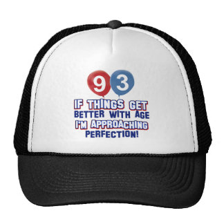 93rd year old birthday gift trucker hats
