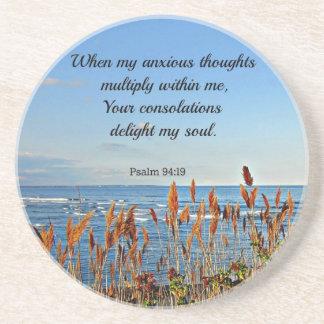 94 19 del salmo en que mis pensamientos ansiosos… posavasos cerveza
