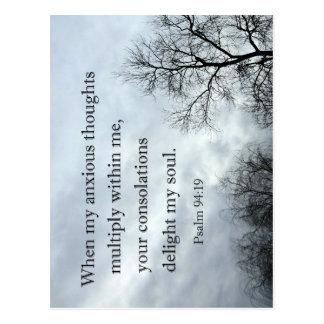 94:19 del salmo en que mis pensamientos ansiosos postal