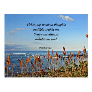 94:19 del salmo en que mis pensamientos ansiosos… tarjeta postal