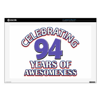 """94 year gift designs decal for 17"""" laptop"""