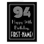 "[ Thumbnail: 94th Birthday — Art Deco Inspired Look ""94"" + Name Card ]"