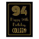 "[ Thumbnail: 94th Birthday: Art Deco Inspired Look ""94"" + Name Card ]"