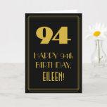 "[ Thumbnail: 94th Birthday ~ Art Deco Inspired Look ""94"" & Name Card ]"
