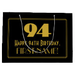 "[ Thumbnail: 94th Birthday — Art Deco Inspired Look ""94"" & Name Gift Bag ]"