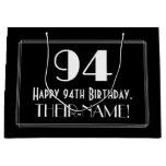"[ Thumbnail: 94th Birthday: Art Deco Inspired Style ""94"", Name Gift Bag ]"