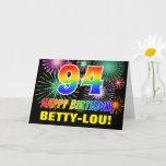 [ Thumbnail: 94th Birthday: Bold, Fun, Fireworks, Rainbow 94 Card ]