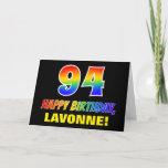 [ Thumbnail: 94th Birthday: Bold, Fun, Simple, Rainbow 94 Card ]
