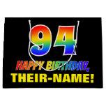 [ Thumbnail: 94th Birthday: Bold, Fun, Simple, Rainbow 94 Gift Bag ]