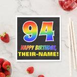 [ Thumbnail: 94th Birthday: Bold, Fun, Simple, Rainbow 94 Napkins ]