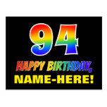 [ Thumbnail: 94th Birthday: Bold, Fun, Simple, Rainbow 94 Postcard ]