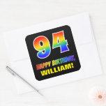 [ Thumbnail: 94th Birthday: Bold, Fun, Simple, Rainbow 94 Sticker ]
