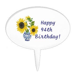 94th Birthday Cake Pick with sunflowers