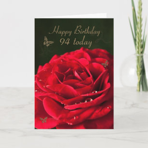 94th Birthday Card With A Classic Red Rose