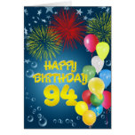 94th Birthday card with fireworks and balloons