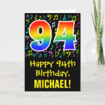 [ Thumbnail: 94th Birthday: Colorful Music Symbols + Rainbow 94 Card ]