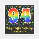 [ Thumbnail: 94th Birthday - Colorful Music Symbols, Rainbow 94 Napkins ]