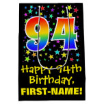 [ Thumbnail: 94th Birthday: Colorful Stars Pattern & Rainbow 94 Gift Bag ]