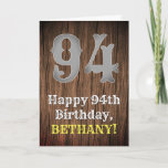 [ Thumbnail: 94th Birthday: Country Western Inspired Look, Name Card ]