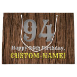 [ Thumbnail: 94th Birthday: Country Western Inspired Look, Name Gift Bag ]