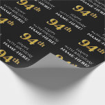 [ Thumbnail: 94th Birthday: Elegant, Black, Faux Gold Look Wrapping Paper ]