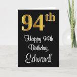[ Thumbnail: 94th Birthday ~ Elegant Luxurious Faux Gold Look # Card ]