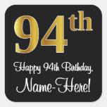 [ Thumbnail: 94th Birthday - Elegant Luxurious Faux Gold Look # Sticker ]