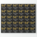 [ Thumbnail: 94th Birthday: Elegant Luxurious Faux Gold Look # Wrapping Paper ]