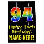 "[ Thumbnail: 94th Birthday: Fun, Bold, Colorful, Rainbow ""94"" Gift Bag ]"