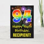 [ Thumbnail: 94th Birthday: Fun Fireworks Pattern + Rainbow 94 Card ]