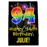 [ Thumbnail: 94th Birthday: Fun Fireworks Pattern + Rainbow 94 Gift Bag ]