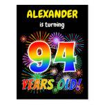 "[ Thumbnail: 94th Birthday - Fun Fireworks, Rainbow Look ""94"" Postcard ]"