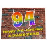[ Thumbnail: 94th Birthday: Fun, Graffiti-Inspired Rainbow # 94 Gift Bag ]