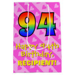 [ Thumbnail: 94th Birthday: Fun Pink Hearts Stripes; Rainbow 94 Gift Bag ]