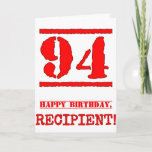 [ Thumbnail: 94th Birthday: Fun, Red Rubber Stamp Inspired Look Card ]