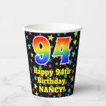 [ Thumbnail: 94th Birthday: Fun Stars Pattern and Rainbow 94 ]