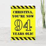 [ Thumbnail: 94th Birthday: Fun Stencil Style Text, Custom Name Card ]