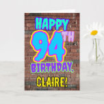 [ Thumbnail: 94th Birthday - Fun, Urban Graffiti Inspired Look Card ]
