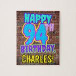 [ Thumbnail: 94th Birthday ~ Fun, Urban Graffiti Inspired Look Jigsaw Puzzle ]