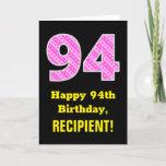 "[ Thumbnail: 94th Birthday: Pink Stripes and Hearts ""94"" + Name Card ]"