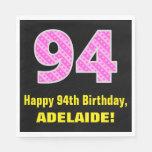 "[ Thumbnail: 94th Birthday: Pink Stripes and Hearts ""94"" + Name Napkins ]"
